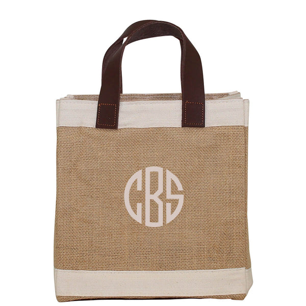 Personalized Jute Mini Market Tote, Eco Friendly Market Tote, Reusable Market Bag, Will you be my Bridesmaid Gift Bag, Mini Jute Tote - PoshBoutiqueInc