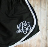 Monogrammed Running Shorts, Cheer Shorts, Monogram Shorts, Cheer Team Shorts, Team Discounts - PoshBoutiqueInc