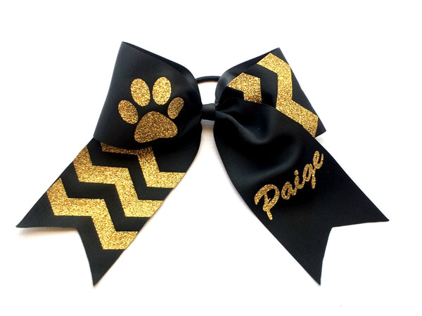Monogram Cheer bow, Monogrammed Cheer Bows, Black, Gold, Cheer Bows, Monogram Hair Bows, Personalized Cheer Bows, Custom Cheer Bows - PoshBoutiqueInc