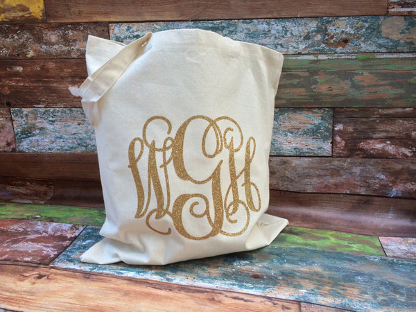 Monogrammed Tote Bag, Monogrammed Bridesmaid Gifts, Canvas Tote Bag, Monogram Tote Bag, Wedding Favors, Monogram Canvas Tote bag - PoshBoutiqueInc