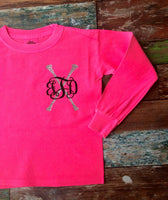 Long sleeve Majorette Pullover, Toddlers, Little Girls, Majorette Pullover, Twirlers, Baton Monogram Long Sleeve T shirt - PoshBoutiqueInc