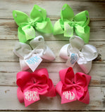 Monogrammed Hair Bow Glitter Monogram Boutique Hair Bow, Headband, Childrens, Glitter Monogram, Preppy Glitter Monogram Gifts - PoshBoutiqueInc