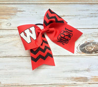 Monogrammed Cheer Bows, Hair Bows, Cheer, Softball, Personalized Team Cheer bow, Custom Cheer Bows - PoshBoutiqueInc