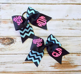 Monogram Cheer Bows, Hair Bows, Monogrammed Gifts, Big Sis Little Sis Cheer Bows, Set of Two Cheer Bows - Team Discount Cheer Bows - PoshBoutiqueInc