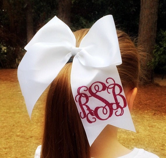 Monogrammed Cheer Bows, Monogrammed Gifts, Big Cheer Bow, Cheerleader Hair Bow, Cheer Bow, Hair Bows - PoshBoutiqueInc