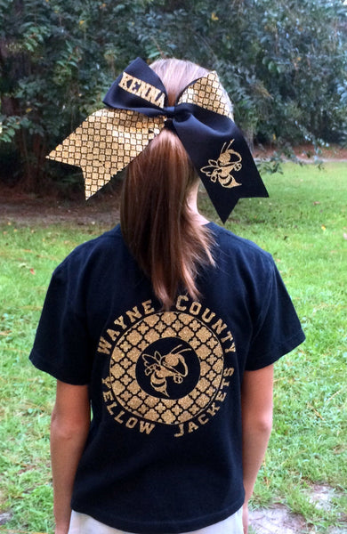 Custom Logo T Shirt, Custom School, Team, Group Tee shirt, Optional Matching Hair Bow, You choose color, design, Your Custom Logo - PoshBoutiqueInc