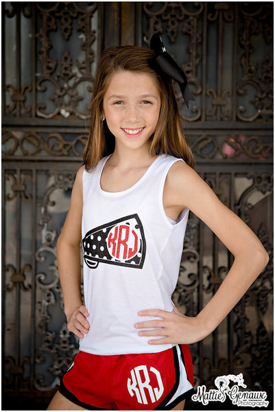 Cheer Tank Top, Monogrammed Megaphone Tank Top, Tank Tops for Cheer Teams - PoshBoutiqueInc