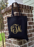 Monogram Tote Bag, Monogrammed Canvas Tote, Monogram Tote bag, Bridesmaid gifts, Wedding Party Favors, Monogram Gifts, Monogrammed tote bags - PoshBoutiqueInc