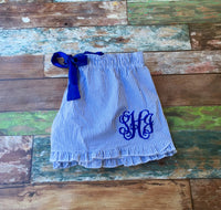 Monogram Seersucker Pajama Shorts, Ruffle Seersucker Shorts, Seersucker PJs, Personalized Bridesmaid Gifts - PoshBoutiqueInc