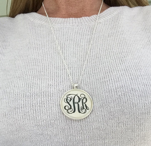 Silver Monogram Necklace New - Larger size, Longer length, Monogrammed Necklaces Personalized Gifts Monogrammed gifts - PoshBoutiqueInc
