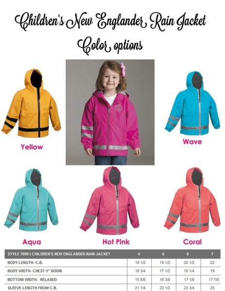 Monogram Rain Jacket - Kids Monogram Rain Jacket - Kids Charles River New Englander Jacket - PoshBoutiqueInc