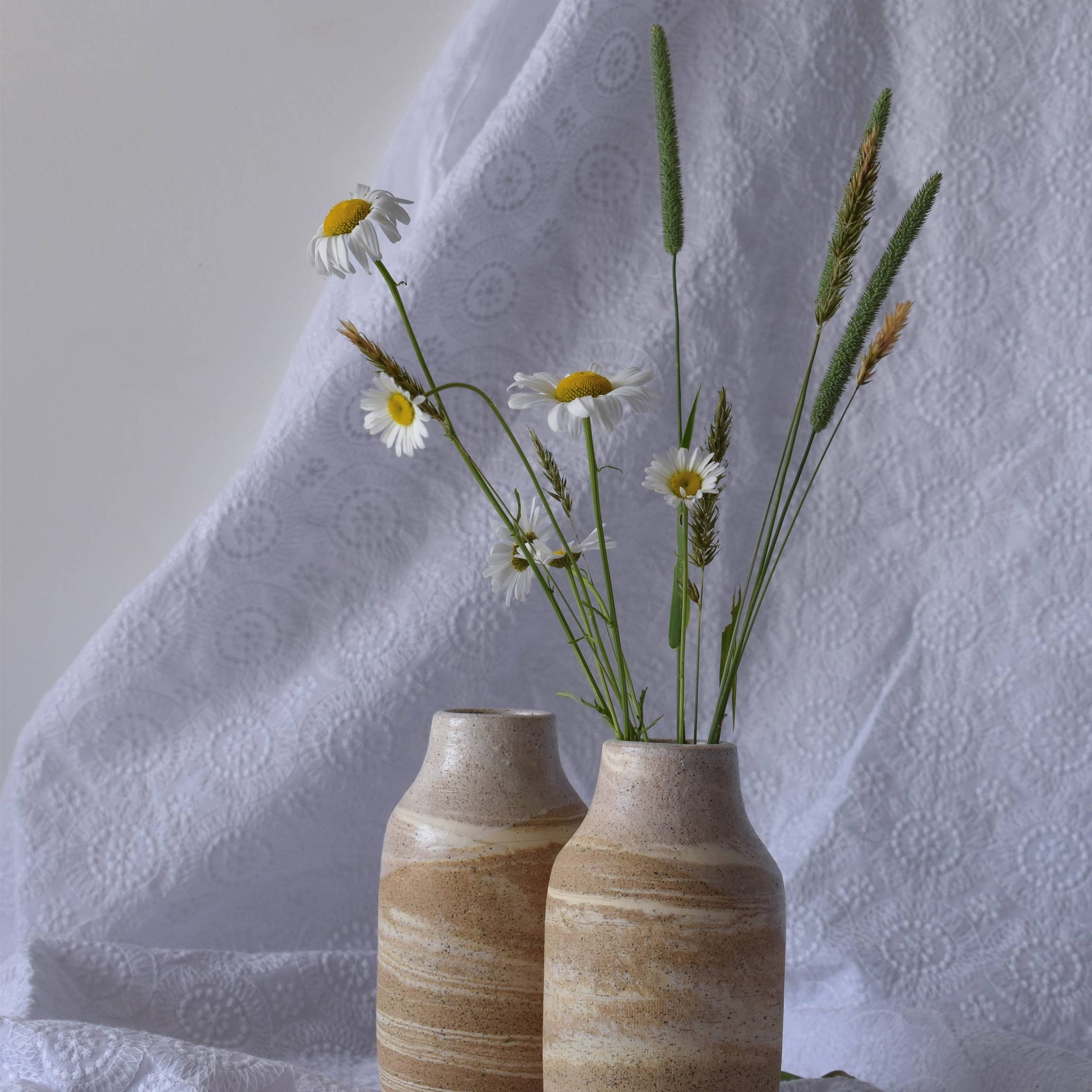 Vase: Marbled Tan (White Interior)