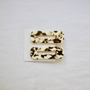 Hair Clips: Coco Cream Tortoise Duo