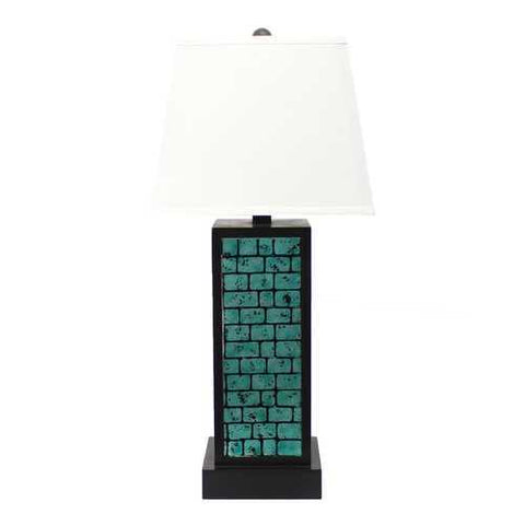 "Image of 31"" x 31"" x 8"" Black Contemporary Metal Table Lamp With  Teal Brick Pattern"