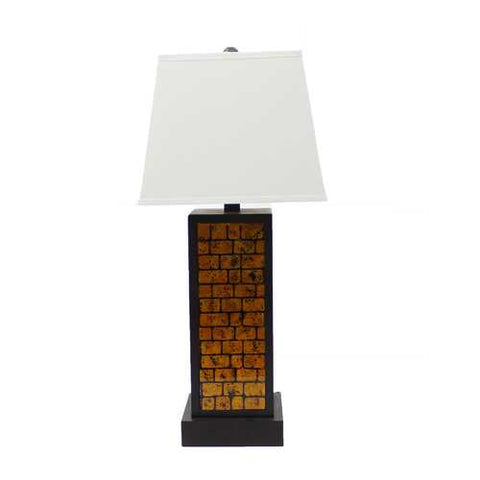 "Image of 31"" x 31"" x 8"" Black Contemporary Metal Table Lamp With Yellow Brick Pattern"