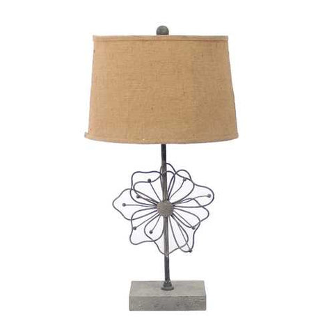 "Image of 28"" x 27"" x 8"" Tan Country Cottage Table Lamp With Blooming Flower Pedestal"