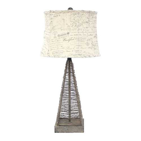"Image of 29"" x 28"" x 7"" Tan Industrial Metal Table Lamp With Gentle Linen Shade"