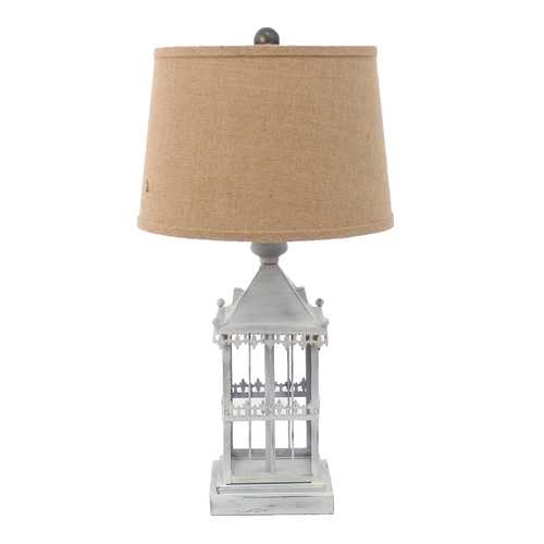"26"" x 26"" x 8"" Gray Country Cottage Castle Table Lamp"