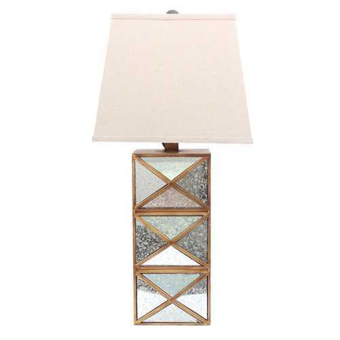 "Image of 28"" x 27"" x 8"" Gold Modern Illusionary Table Lamp With Mirrored  Base"