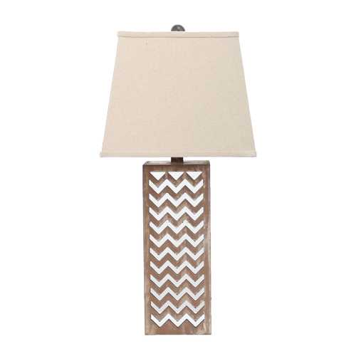 "28"" x 27"" x 8"" Tan Contemporary Metal Mirror Table Lamp"