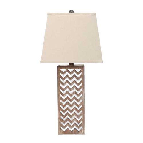 "Image of 28"" x 27"" x 8"" Tan Contemporary Metal Mirror Table Lamp"