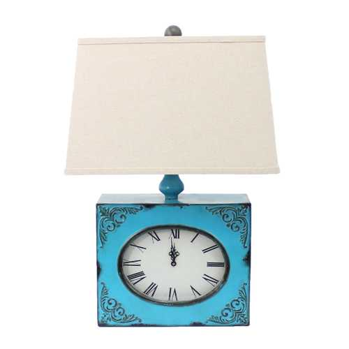 "22"" x 22"" x 7"" Blue Vintage Table Lamp With Metal Clock Base"