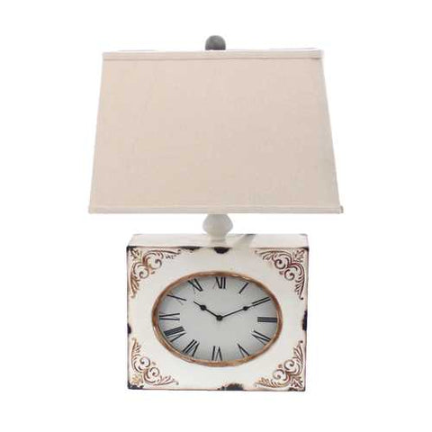 "Image of 22"" x 22"" x 7"" White Vintage Table Lamp With Metal Clock Base"