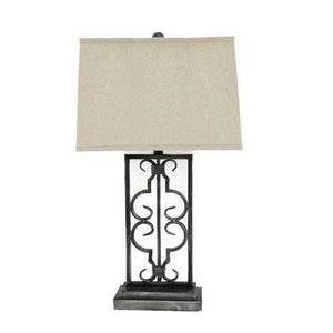 "29"" x 28"" x 8"" Gray Industrial Table Lamp With Stacked Metal Pedestal"