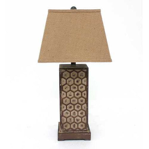 "29"" x 28"" x 8"" Brown Industrial Table Lamp With Honeycombed Metal Base"