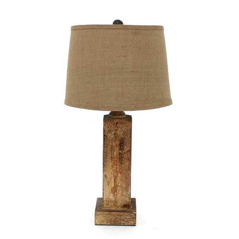 "Image of 27"" x 27"" x 8"" Brown Rustic Table Lamp With Round Linen Shade"