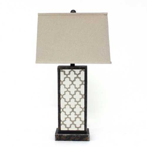 "30"" x 30"" x 8"" Bronze Contemporary Table Lamp With Rock Floral Base"