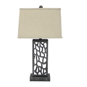 "29"" x 29"" x 8"" Silver Coastal Metal Table Lamp With Multi Mini Grotto Pattern"