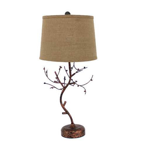 "Image of 31"" x 31"" x 9"" Bronze Vintage Metal Table Lamp With Elegant Tree Base"