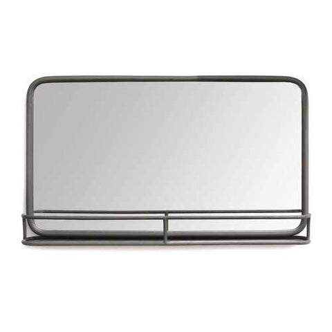 "24"" X 4"" X 14"" Gunmetal Metal Mirror With Shelf"