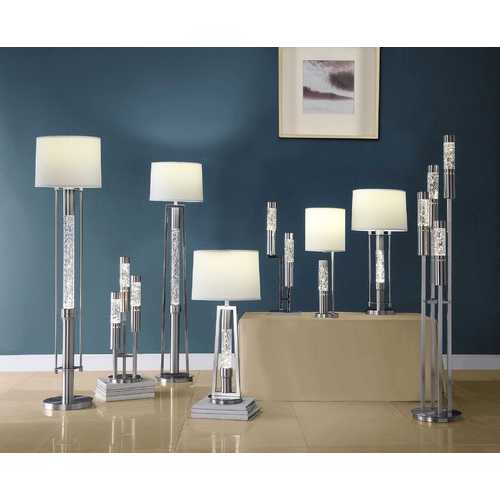 "15"" X 15"" X 32"" Brushed Nickel Metal Glass LED Shade Table Lamp"