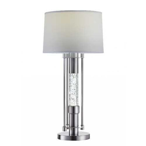"Image of 15"" X 15"" X 32"" Brushed Nickel Metal Glass LED Shade Table Lamp"