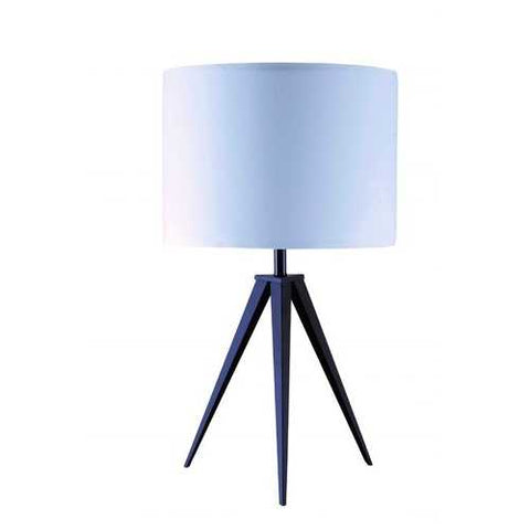 "Image of 1"" X 1"" X 26"" White Black Metal Shade Table Lamp"
