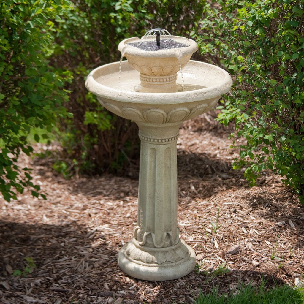 2-Tier Solar Fountain Bird Bath in Weather Resistant Fiberglass Resin