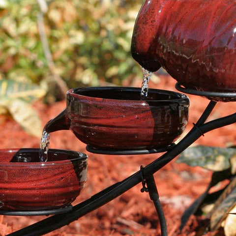 Image of Red Ceramic 5-Tier Hand Painted Outdoor Bird Bath Fountain with Solar Pump