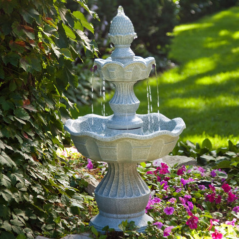Image of 2-Tier Outdoor Fountain with Pineapple Top in Weather Resistant Resin