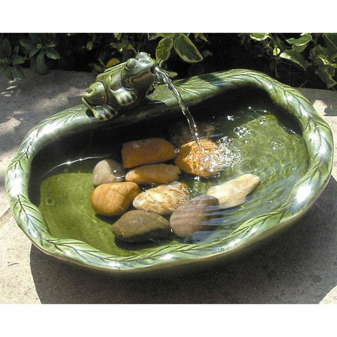 Image of Green Glazed Ceramic Fountain Bird Bath with Frog and Solar Pump