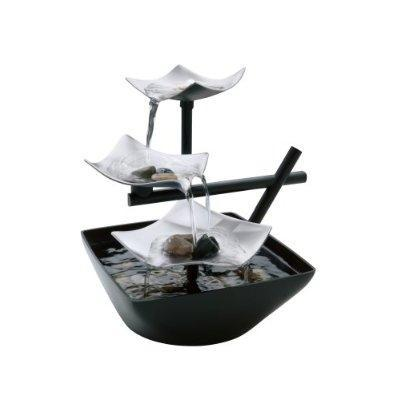 Image of Illuminated Silver Water Springs Relaxing Table Fountain with Stones
