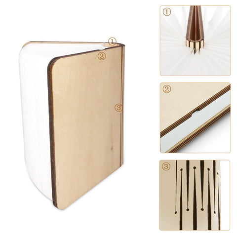 Wooden book lamp