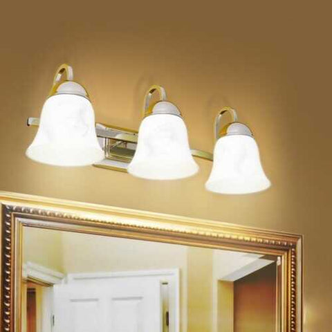 Image of 3-Light LED Bath Vanity Light with Alabaster Glass Dimmable