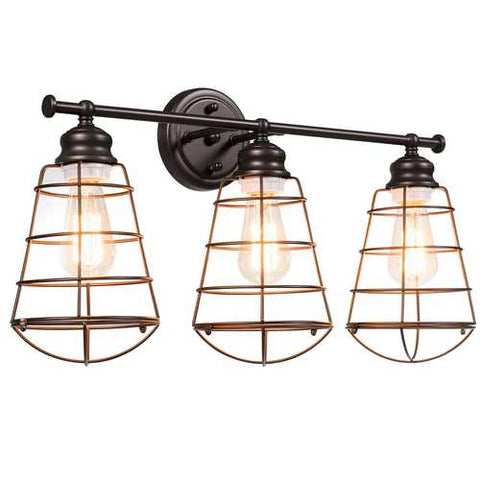 Image of 3-Light Vanity Lamp Bathroom Fixture with Metal Wire Cage