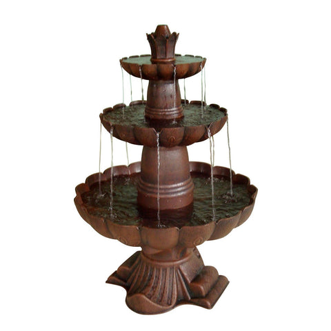 Image of 3-Tier Outdoor Garden Fountain in Durable Poly-Vinyl Composite - Bronze Color