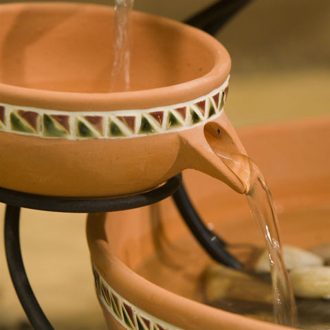 Image of Terracotta 5-Tier Bowls Outdoor Solar Fountain Bird Bath