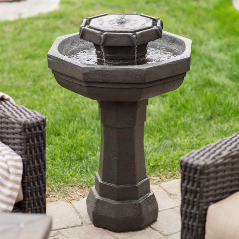 Image of Hexagon Outdoor Water Fountain Bird Bath with Solar Pump