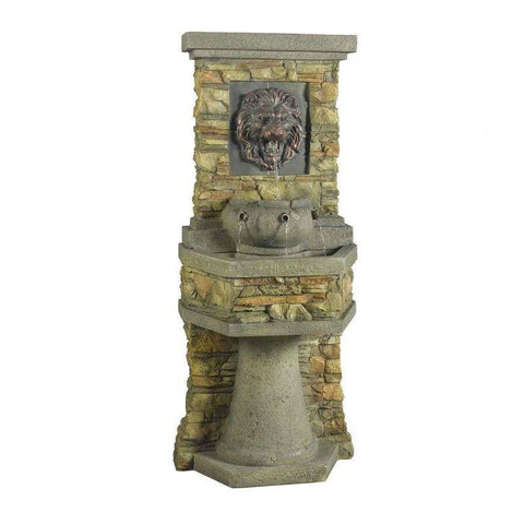 Image of Indoor or Outdoor Water Fountain with Bronze Hued Lion Head