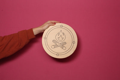 Wood Outdoor Badges -  Campfire w/ Circle